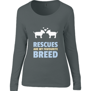 T-shirt à manches longues femme Rescues are my favourite breed'