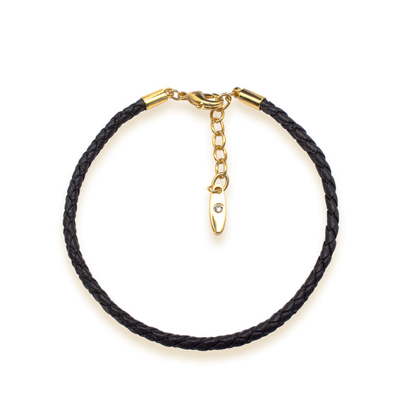 5399846 - Bracelet Leather Swarovski Black - gold 18 cms