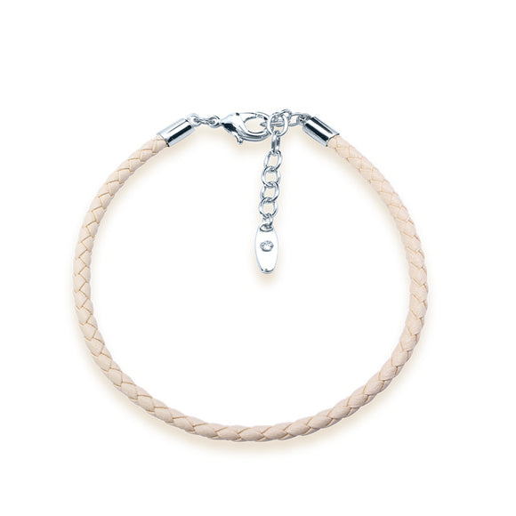 5399865 - Bracelet Leather Swarovski Beige 15 cms