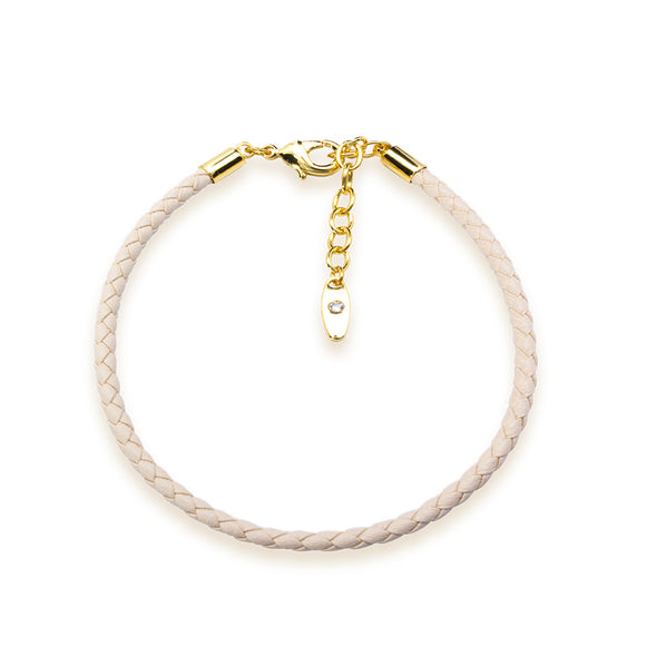 5399879 - Bracelet Leather Swarovski Beige - gold 18 cms