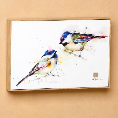 CHICKADEE PAIR WALL ART 12X8