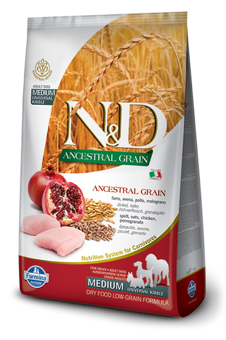 Farmina N&D Ancestral Grain Chicken & Pomegranate Medium Adult Dog Food