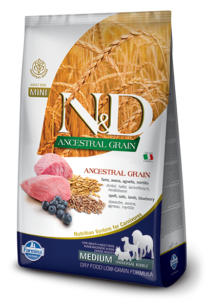 Farmina N&D Ancestral Grain Lamb & Blueberry Medium Adult Dog Food 26.4LB