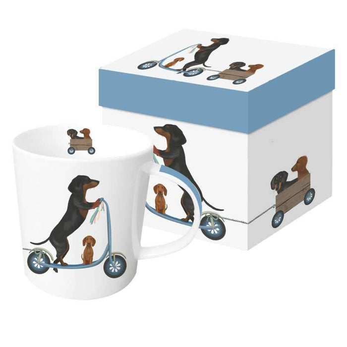 Scooter Dogs: Dachshunds Gift-Boxed Mug