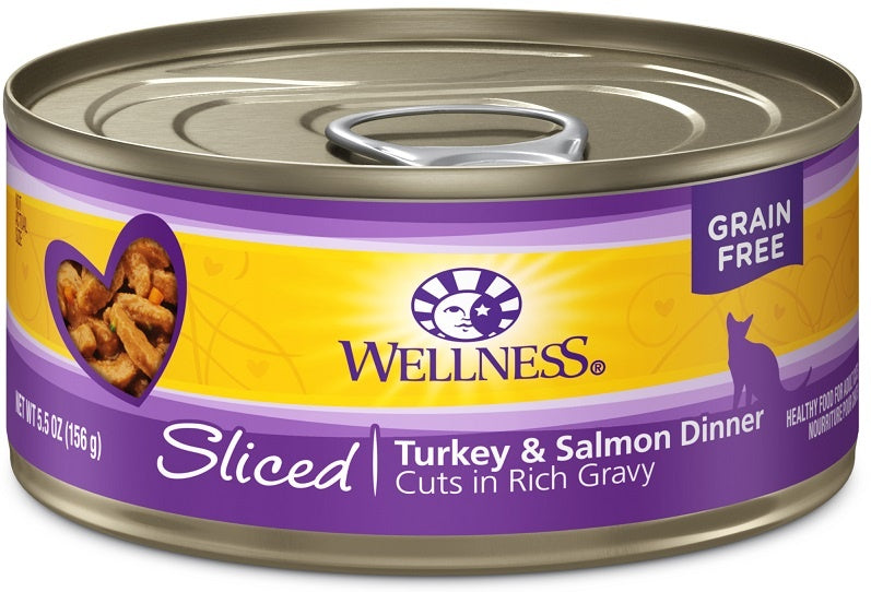 Wellness Grain Free Natural Sliced Turkey and Salmon Dinner Wet Canned Cat Food