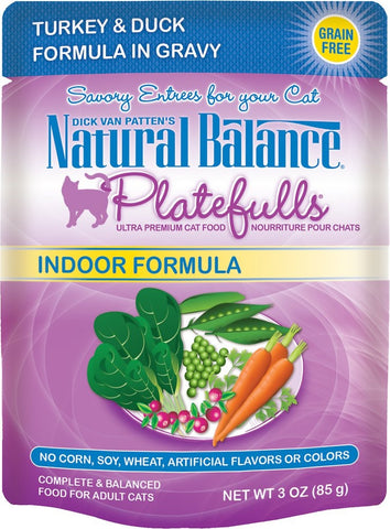 Natural Balance Platefulls Indoor Turkey and Duck Formula in Gravy Pouch Wet Cat Food