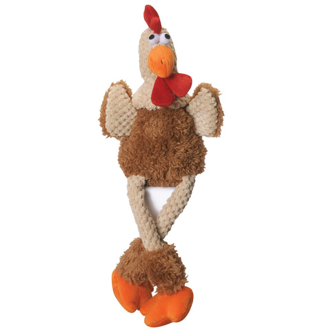 GoDog Checkers Skinny Brown Rooster Dog Toy