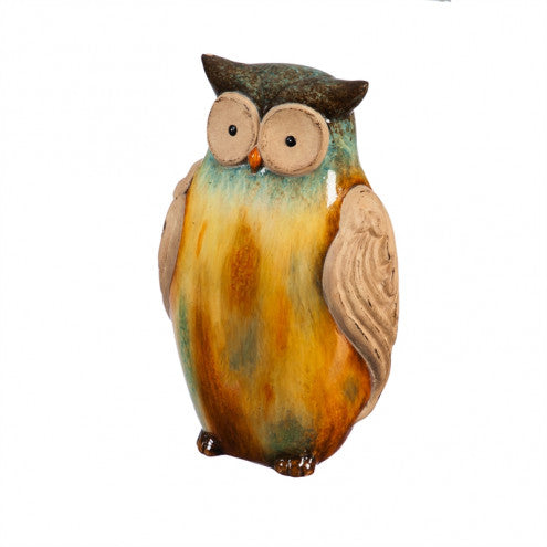 "9.5"" OWL GLAZED TERRACOTTA STATUARY, TALL"