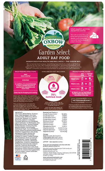 Oxbow Garden Select Adult Rat Food
