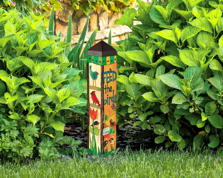 "STUDIO M GARDEN ART POLE 20"" FEED THE BIRDS"