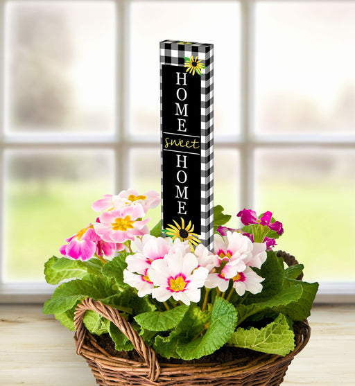 "CHECKS AND YELLOW DAISY 13"" MINI ART POLE"