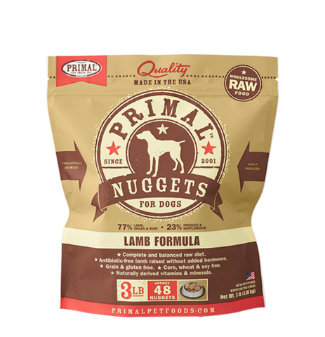 Primal Nuggets Raw Frozen Canine Lamb Formula