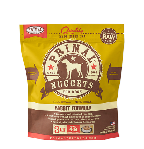 Primal Nuggets Raw Frozen Canine Rabbit Formula