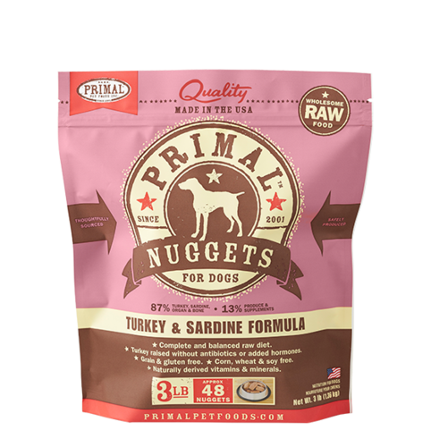 Primal Nuggets Raw Frozen Canine Turkey & Sardine Formula