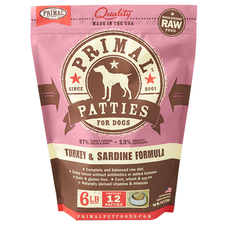 Primal Patties Raw Frozen Canine Turkey & Sardine Formula