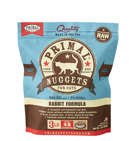 Primal Nuggets Raw Frozen Feline Rabbit Formula