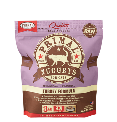 Primal Nuggets Raw Frozen Feline Turkey Formula