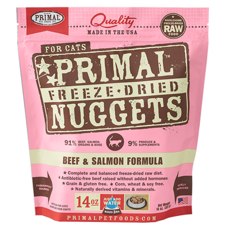 Primal Nuggets Raw Freeze-Dried Feline Beef & Salmon Formula