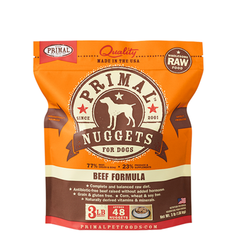 Primal Nuggets Raw Frozen Canine Beef Formula