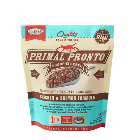 Primal Pronto Raw Frozen Feline Chicken & Salmon Formula