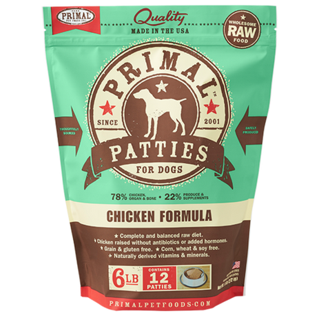 Primal Patties Raw Frozen Canine Chicken Formula