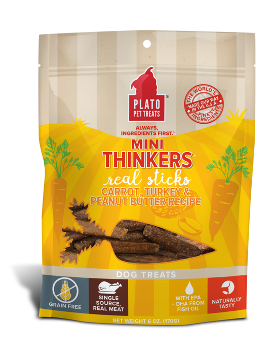 Mini Thinkers Grain Free Carrot, Turkey & Peanut Butter Meat Stick Dog Treats - 6oz.