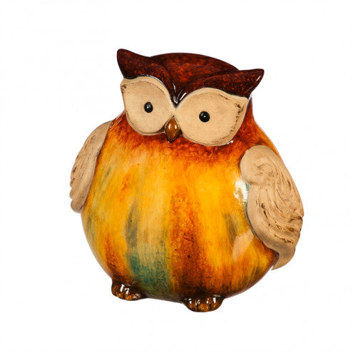 "5.75"" OWL GLAZED TERRACOTTA STATUARY, SHORT"