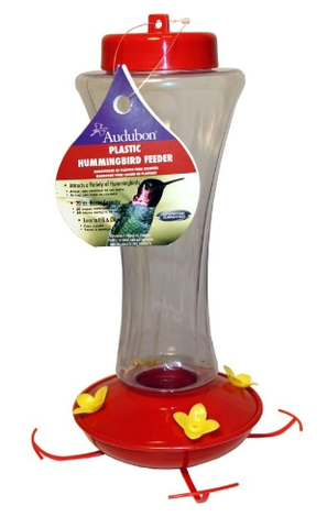 Plastic Red/Clear Hummingbird Feeder
