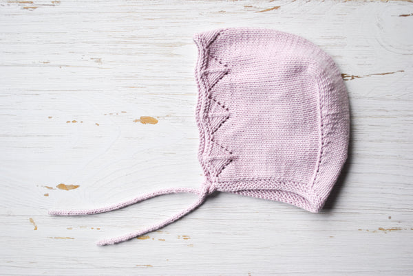 Cotton Baby Bonnet - Rose Lace