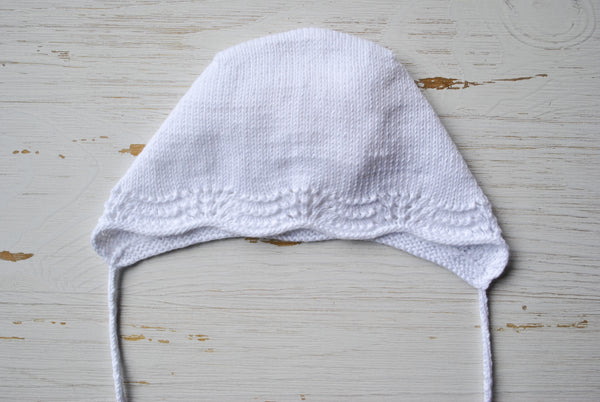 Cotton Baby Bonnet - White Lace