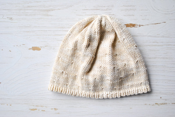 Cotton Baby Beanie - White Jean