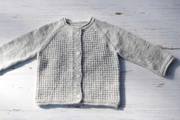 Wool & Alpaca Baby Cardi - Light Grey