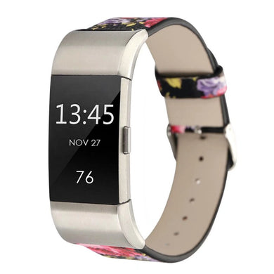 Floral Passion Leather Band - Fitbit Charge 2
