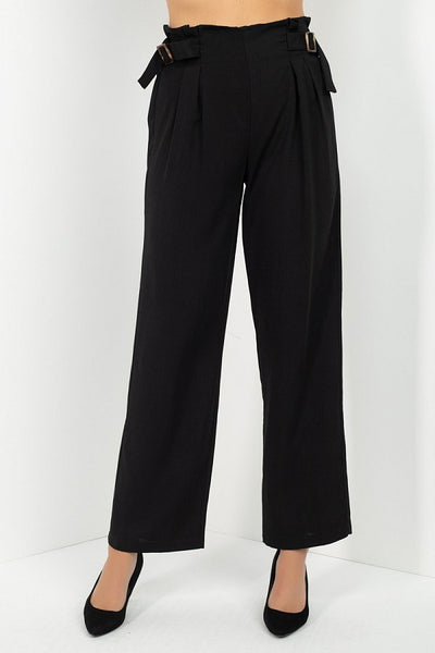 High Waist Paperbag Wide Pants