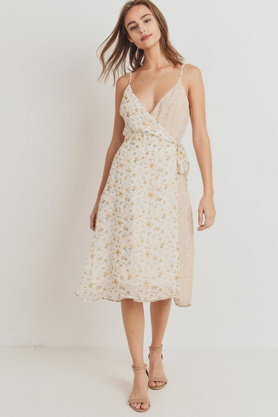 Floral Print Contrasted Side Tie Shoulder Strap Dress