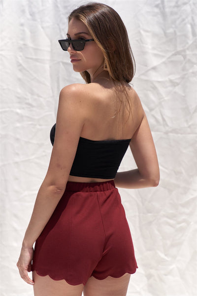Solid Burgundy Red High Waist Elasticized Waistband Unlined Mini Shorts With Scalloped Bottom Hem