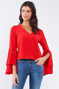 V-neck Long Bluebell Slit Draw String Tie Double Frill Sleeve Top