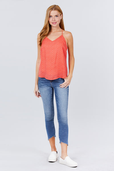 V-neck W/back Strap Dot Print Woven Cami Top