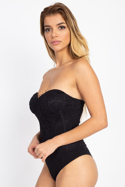 Sweetheart Floral Lace Tube Bodysuit