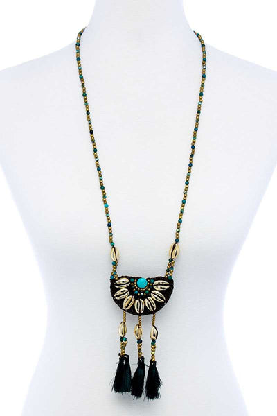 Fashion Sea Shell And Beaded Long India Necklace