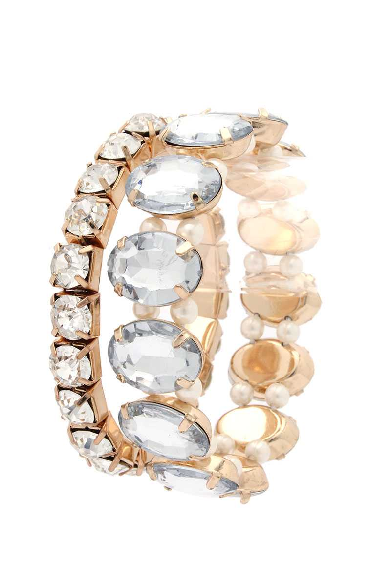 Oval Rhinestone Stretch Stackable Bracelet