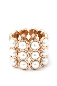 Pearl Bead Wide Stretch Bracelet
