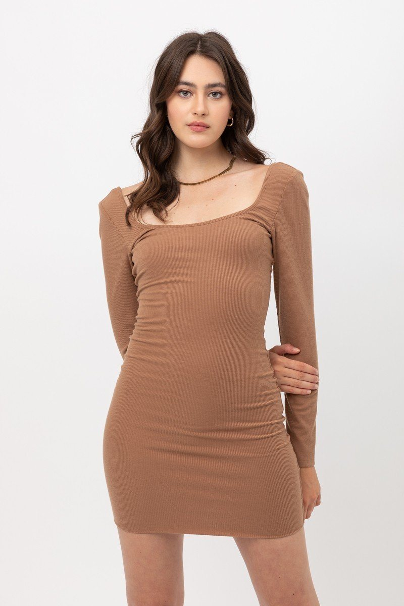 U Neck Of Front And Back Side, Basic Rib Dress With Long Sleeve