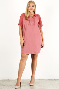 Plus Size Solid Dress With Zip-up Closure