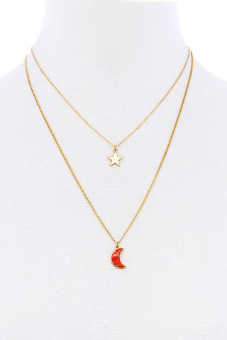 Stylish Double Layer Chain Star And Moon Pendant Necklace