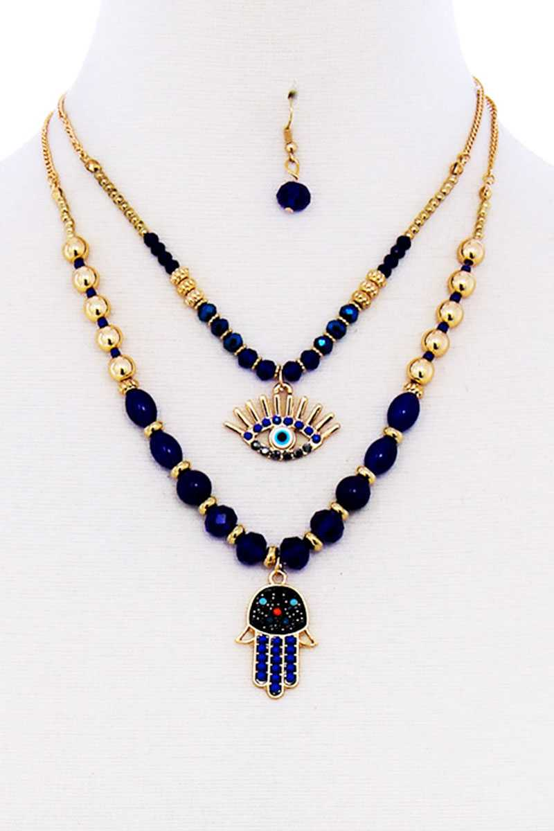 Double Layer Hamsa And Evil Eye Pendant Necklace And Earring Set