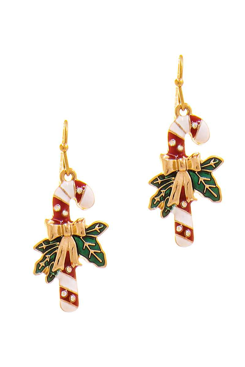 Modern Christmas Cane Ribbon Design Earring