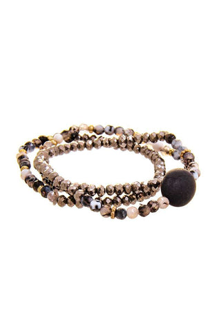 Triple Simple Multi Bead Link Oval Bracelet