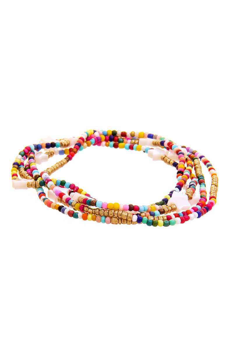 Trendy Multi Layer Colored Bead Star Link Design Bracelet