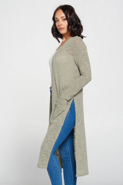 Side Slit Long Sage Cardigan